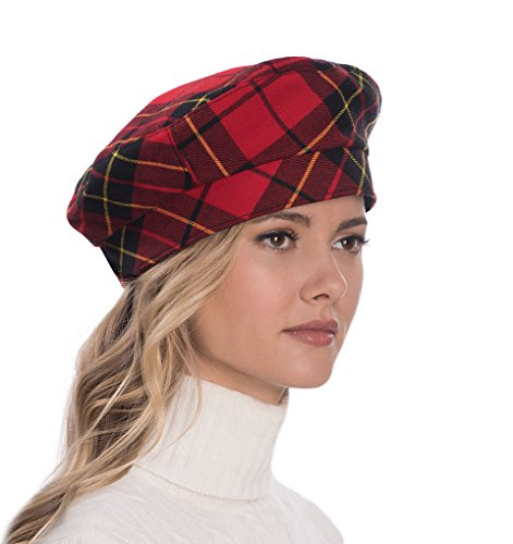 Eric Javits Luxury Fashion Designer Women's Headwear Hat - Tartan Beret - Red/Black