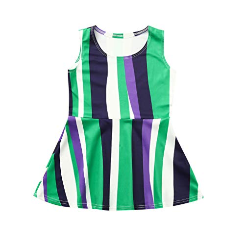 Girl Family Matching Dresses Verticle Stripe Sleeveless Tank Dresses Mommy&Me Mini Cute Dress for Summer Wearing
