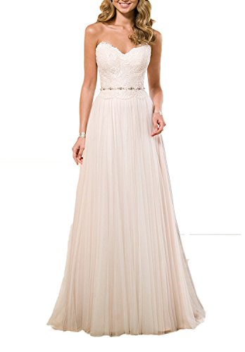 Anlin Sweetheart Lace Bodice Tulle Wedding Dress Beach Bridal Gown Ivory US20w Bodice Bridal Wedding Dress