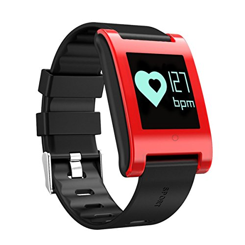 Fitness Tracker,AngeliaSky Wristband Watch Monitor Activity/Sleeping/Heart Rate/Blood Pressure/Pedometer Waterproof OLED Touch Screen Smart Watch for Android and iOS Phones (Red)