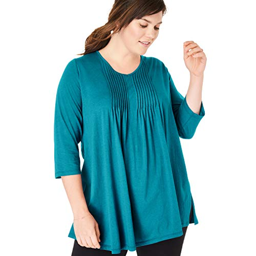 (Woman Within Women's Plus Size V-Neck Pintucked Tunic - Deep Turquoise, 22/24)