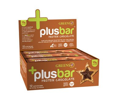 Greens Plus - Chocolate Peanut Butter Natural Protein Bars, 2 Ounce Bars, 12 Count