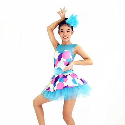 MiDee Girl's Sweetheart Illusion Neck Competition Jazz Dance Dress Size 9 US Blue (MA, Blue) (Dance Costumes For Competition Lyrical)