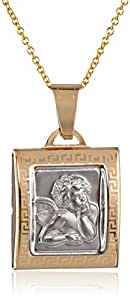 """14k Gold Two-Tone Cherub Angel Square Medal Necklace, 18"""""""