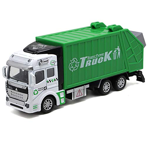 xxiaoTHAWxe Garbage Truck Toy, Mini 1/48 Diecast Recycling Collectible Waste Management Green Pull-Back Realistic Truck Model Car for Kids Birthday Gift - Beach Stand Diecast