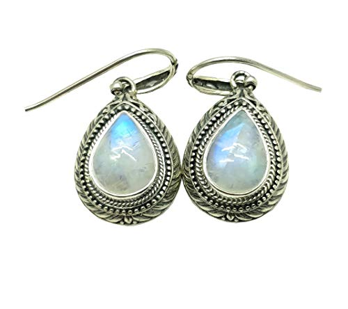 (COLORS OF JEWELS 925 Sterling Silver Earrings. 40 MM Rainbow Moonstone PEAR 11.76 Gram NC-AE-8028-RM)