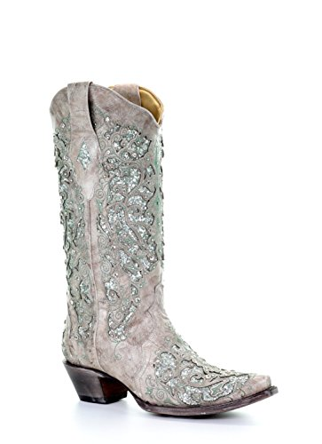 Corral Women's 13-inch White/Green Glitter Inlay & Crystals Pull-On Cowboy Boots - Sizes 5-12 B (7.5 B(M) US, Bone)