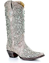 Corral Womens 13-inch White/Green Glitter Inlay & Crystals Pull-On Cowboy Boots - Sizes 5-12 B (10 B(M) US, Bone)