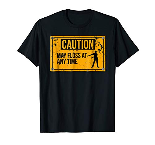 Caution May Floss At Any Time Distressed Flossing T-Shirt (Big Time Youth T-shirt)
