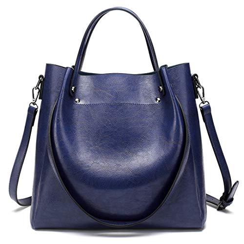 LIUGHGB Leather H Bags Women Bags Casual Female Bags Tote Shoulder Crossbody Bag Ladies Female Messenger Bag Large Bolsos Blue