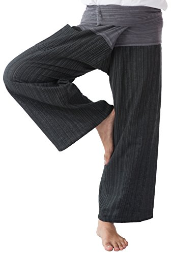 Meditation Pants Yoga (Thai Fisherman Pants Men's Yoga Trousers Gray and Charcoal 2 Tone Pant)