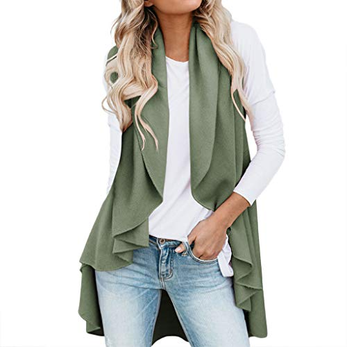 HYIRI Women's Wild Irregular Cardigan Top Jacket Green -