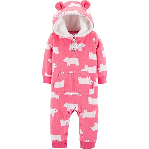 - Carter's Baby Girls' Hooded Fleece Jumpsuit (Pink/Polar Bear, 3 Months)