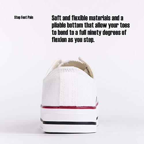 Hotroad Unisex Zapatillas de Moda Low Top Lona Clásico - Blanco