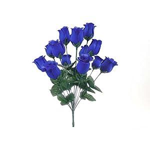"2 Bushes Royal Blue Rose Buds 28 Artificial Silk Flowers 17"" Bouquet 643RBL 51"