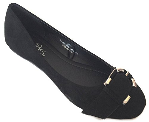 Zapatos 18 Bailarinas De Cuero De Imitación Para Mujer Zapatos De Ballet Clásico Con Hebilla Negra Micro Suede 5058