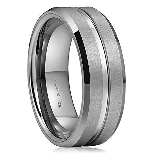 WASOLIE Tungsten Carbide Wedding Ring Engagement Band for Men Women Rose Gold Blue Black Matte Brushed Comfort Fit 8mm