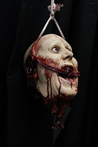 High End Halloween Decorations (Halloween Prop HANGING BLOODY CORPSE HEAD - The Walking Dead - Haunted House Zombie)