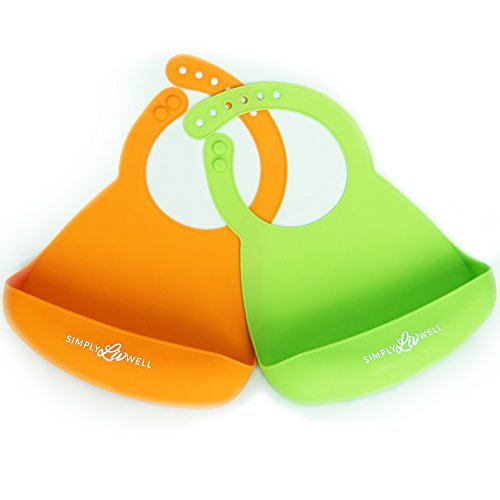 Price comparison product image SALE!!! Best Silicone Baby Bibs with Built In Food Catcher Pocket! Lightweight & Comfortable Superior Design! Great for Baby & Toddler! BPA Free,  Waterproof & Dishwasher Safe! Pack of 2