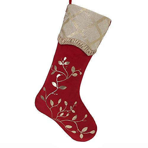 Teresas Collections 21 Warmly Red Gold Christmas Stocking Holly Berry Embroidery Design, Themed with Tree Skirt (Not Included)