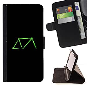 For Samsung Galaxy Core Prime Bicycle Neon Green Black Retro Ride Beautiful Print Wallet Leather Case Cover With Credit Card Slots And Stand Function