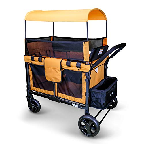 Multi-Function Folding Wagon Four Passenger Stroller with Removable Canopy and Seats Up to 4 Toddlers (Orange)