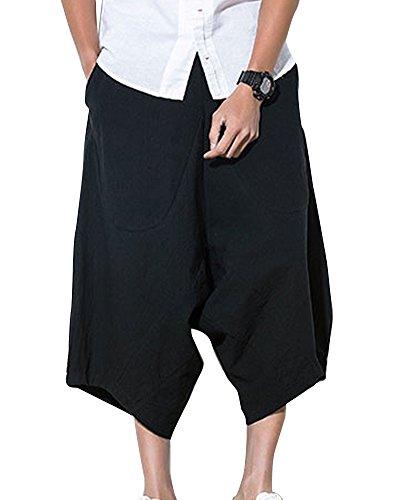 Larghi Shifan Vita Lino Pantaloni Uomo Cordoncino Con Comodo In Nero Pantalone Eleganti 6Epr6anqH