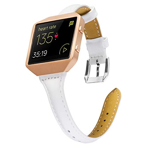 Wearlizer Compatible Fitbit Blaze Band Leather Thin Metal Frame Classic Genuine Leather Wristband Accessory Replacement Strap Fit bit Blaze White