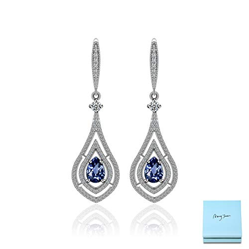 Cubic Zirconia Blue Chandelier Earrings - Women's Teardrop Sapphire Crystal CZ Dangle Earrings Vintage Retro Earrings for Wedding Gala Prom Bridal Jewelry Gift for Bridesmaids Bride Mother of Bride