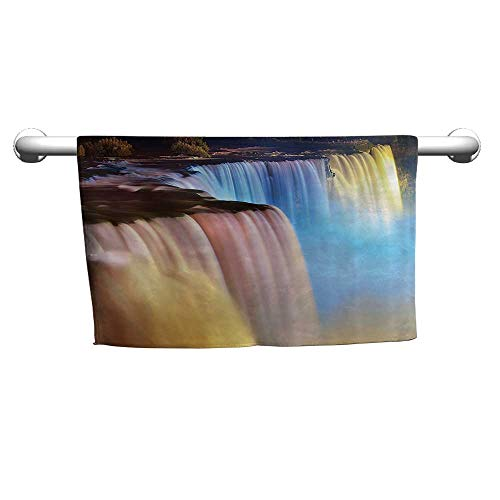 warmfamily Waterfall Decor Collection Beach Activity Bath Towel Niagara Falls Lit by Colorful Lights Night View Waterfall PictureW14 x L14 Ivory Yellow Blue