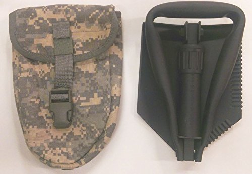 TriFold Entrenching Tool E-Tool, with ACU Carrier Genuine Military Issue Etool Shovel (Fold Cover Shovel Tri)