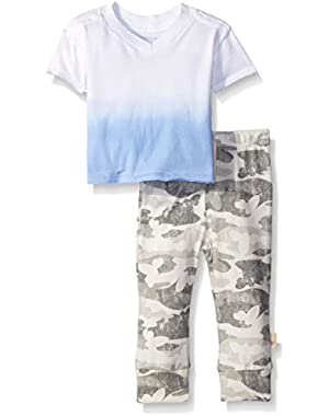 Boys' Organic Dip Dye V-Neck and Distressed Camo Pant
