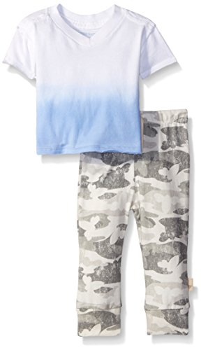 (Burt's Bees Baby Baby Organic Dip Dye V-Neck and Distressed Camo Pant, Robins Egg, 12 Months)