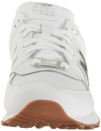 New Balance Mens 574 Lifestyle Fashion Sneaker Bianco / Argento