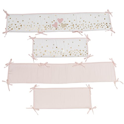 Lambs & Ivy Confetti Heart 4 Piece Crib Bumper, Pink/Gold (Separates Bedding Crib)