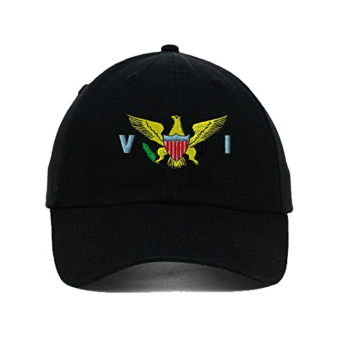 Speedy Pros Virgin Island Flag Seal Embroidery Twill Cotton 6 Panel Low Profile Hat Black ()