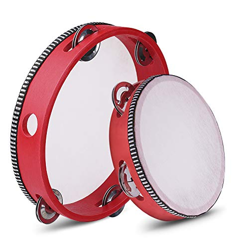 Flexzion Wood Handheld Tambourines - 8 and 6 Inch Set of 2 Pack, with Single Row Metal Jingle Bell (Red) Hand Held Tambourine Percussion Drum Moon Musical Educational Toy Instrument for Kids Adults from Flexzion