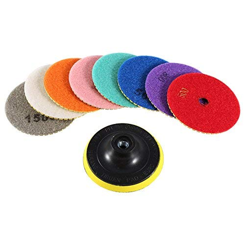 4-Inch Wet/Dry Diamond Polishing Pads,Grinding Discs for Granite Concrete Marble Polish 100mm ()