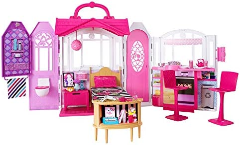 Barbie Glam Getaway Portable Dollhouse, 1 Story with Furniture, Accessories and Carrying Handle, for 3 to 7 Year Olds