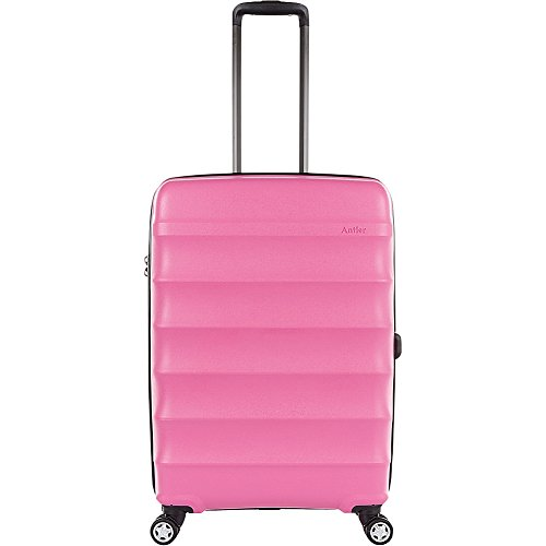 Antler Juno DLX 27'' Expandable Hardside Checked Spinner Luggage (Pink) by Antler