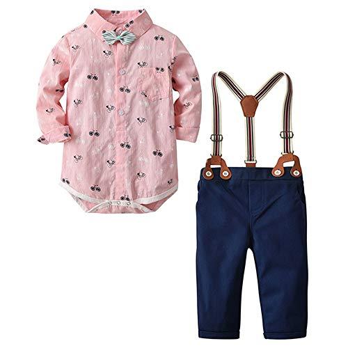 Keliay Bargain Toddler Baby Boy Bow tie Gentleman Bicycle Top T-Shirt Romper Trousers Pants Set -