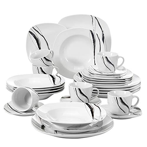 (VEWEET 30-Piece Porcelain Dinnerware Set Line Patterns White Square Kitchen Plate Sets with Dinner Plate, Soup Plate, Dessert Plate, Saucer and Mug, Service for 6 (Teresa Series))