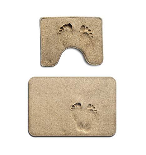 Beach Footprint in Sand Matbath Foam Bath Mat Bathroom Carpet Rug Washable Non-Slip 2 Piece Bathroom Mat Set (2 Sets Of Footprints In The Sand)