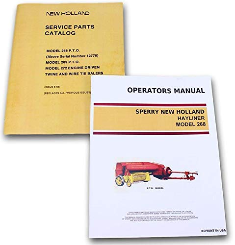 Set Sperry New Holland 268 Hayliner Baler Owners Operators Parts Manual -
