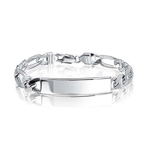 (250 Gauge 925 Sterling Silver Figaro Engravable Name Plate ID Identification Bracelet For Men Made In Italy 9)