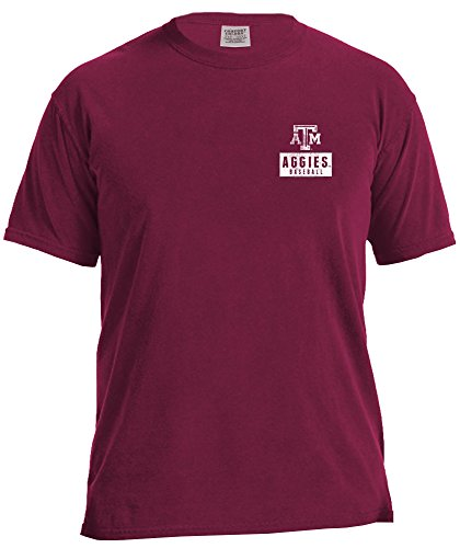 NCAA Texas A&M Aggies Vintage Baseball Flag Short Sleeve Comfort Color T-Shirt, XX-Large,AggieWine
