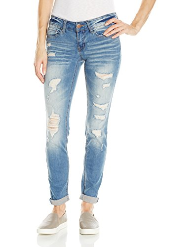(dollhouse Women's Destructed Roll Up Skinn Jean, Midtown Blue 9 )