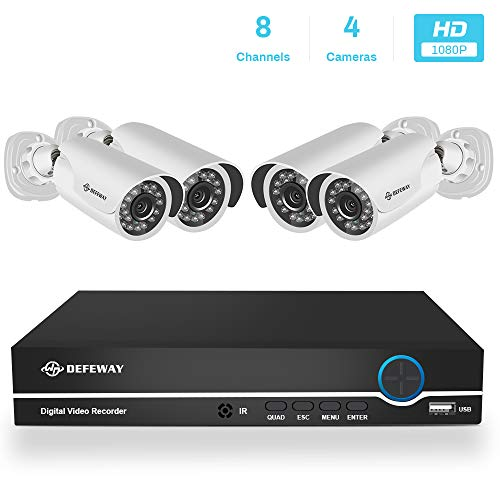DEFEWAY 1080P 8CH Security Camera System, 8 Channel 1080P Surveillance DVR with 4pcs 2.0MP Waterproof Video Security Cameras,NO Hard Drive Included