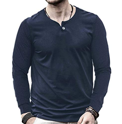 (Aiyino Men's Casual Slim Fit Single Button Long Sleeve Placket Plain Henley Top T Shirts)