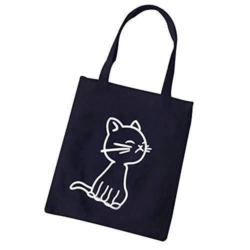 Charma tessuto borsa multi giovani bag canvas borsa Cat uomini morbido moda pattern nero S Aqd1wd